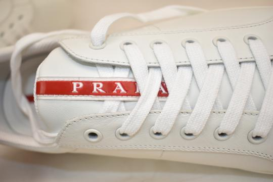 Prada White Nero Leather Lace Up Logo Sneakers 7.5 Us 8.5 Shoes Image 6