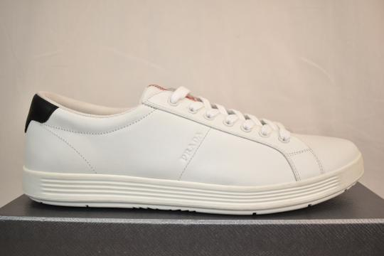 Prada White Nero Leather Lace Up Logo Sneakers 7.5 Us 8.5 Shoes Image 7