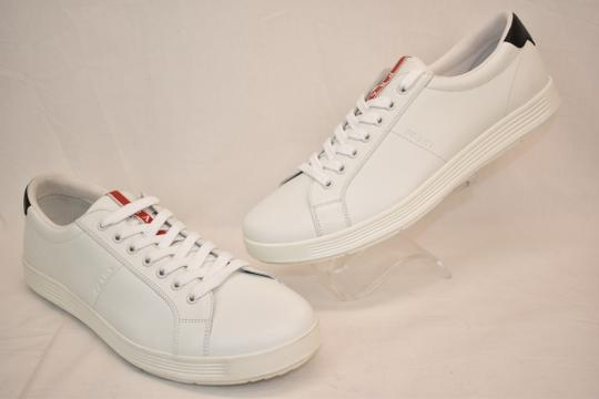 Prada White Nero Leather Lace Up Logo Sneakers 7.5 Us 8.5 Shoes Image 8