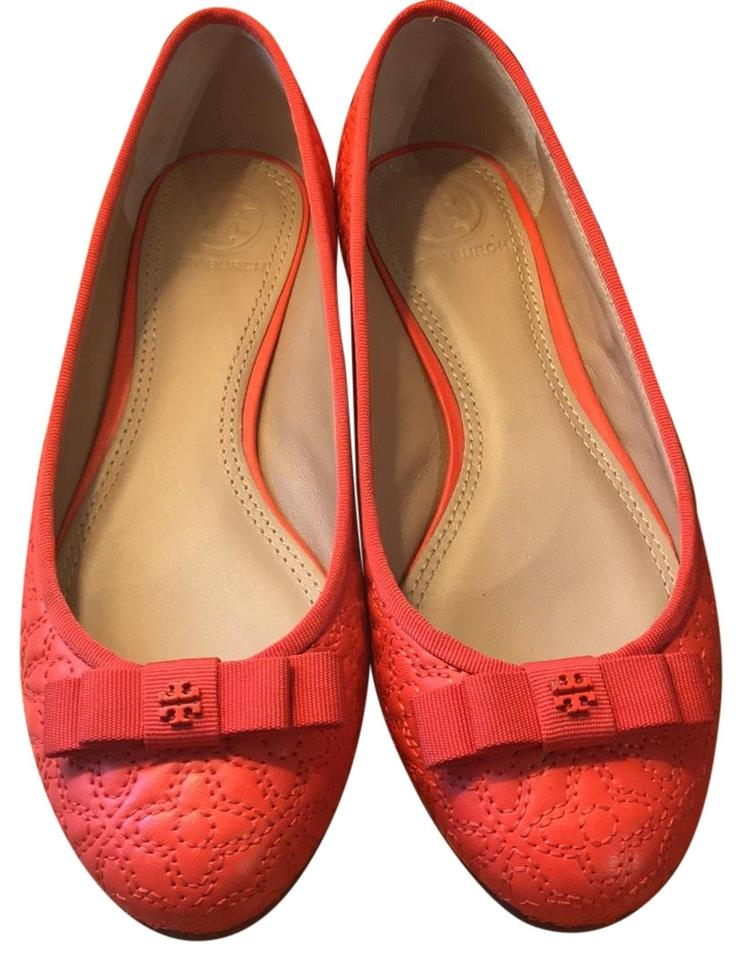 d539fe7be Tory Burch Orange Marion Quilted Leather Ballet Flats Size US 5.5 ...