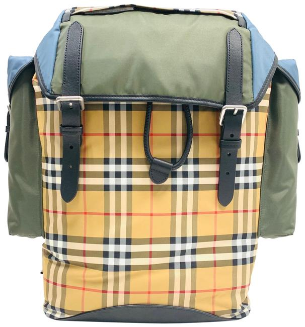 Item - Medium Colour Block Vintage Check And Military Green Chamois Leather Backpack