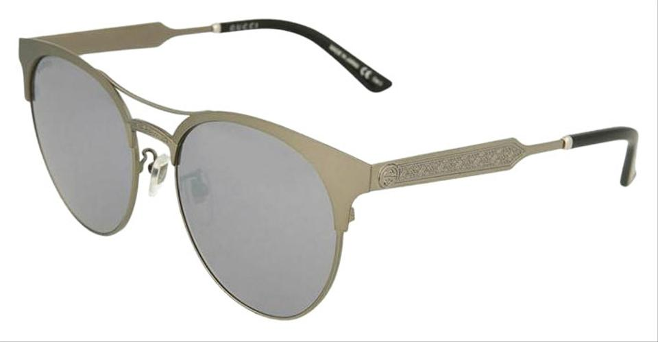 057cfae9614 Gucci Ruthenium Frame   Silver Mirrored Lens Gg0075sk-005 Round ...