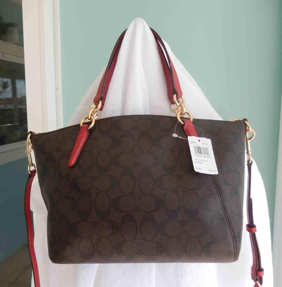5a4b6ec65866 Coach Kelsey F28989 Small In Signature Dark Brown Coated Canvas Satchel