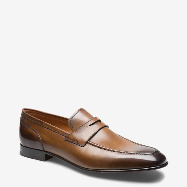 Item - Brown Brent Tobacco Kangaroo Leather Penny Loafers 11 Ee+ Swiss Shoes
