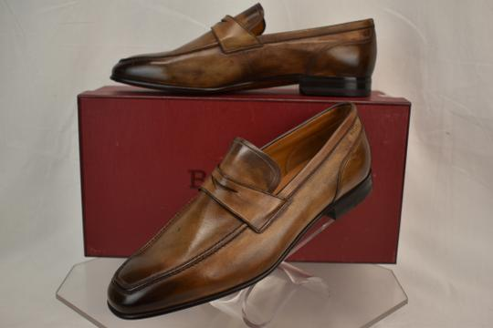 Bally Brown Brent Tobacco Kangaroo Leather Penny Loafers 8.5 Ee+ Swiss Shoes Image 2