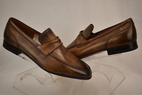 Bally Brown Brent Tobacco Kangaroo Leather Penny Loafers 8.5 Ee+ Swiss Shoes Image 3