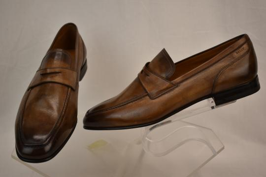 Bally Brown Brent Tobacco Kangaroo Leather Penny Loafers 8.5 Ee+ Swiss Shoes Image 5