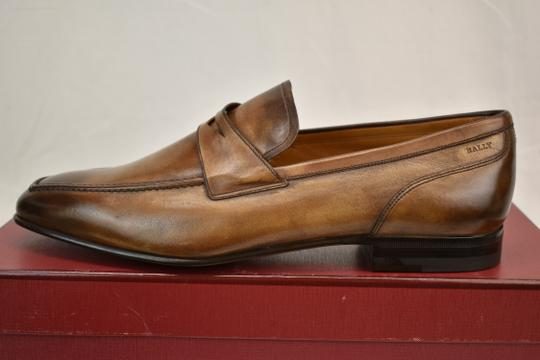 Bally Brown Brent Tobacco Kangaroo Leather Penny Loafers 8.5 Ee+ Swiss Shoes Image 6