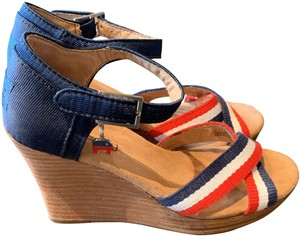 TOMS Blue Red White Brown Wedges