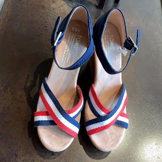 TOMS Blue Red White Brown Wedges Image 1