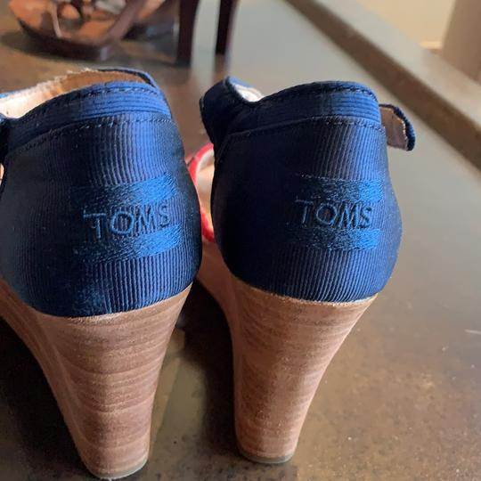 TOMS Blue Red White Brown Wedges Image 2