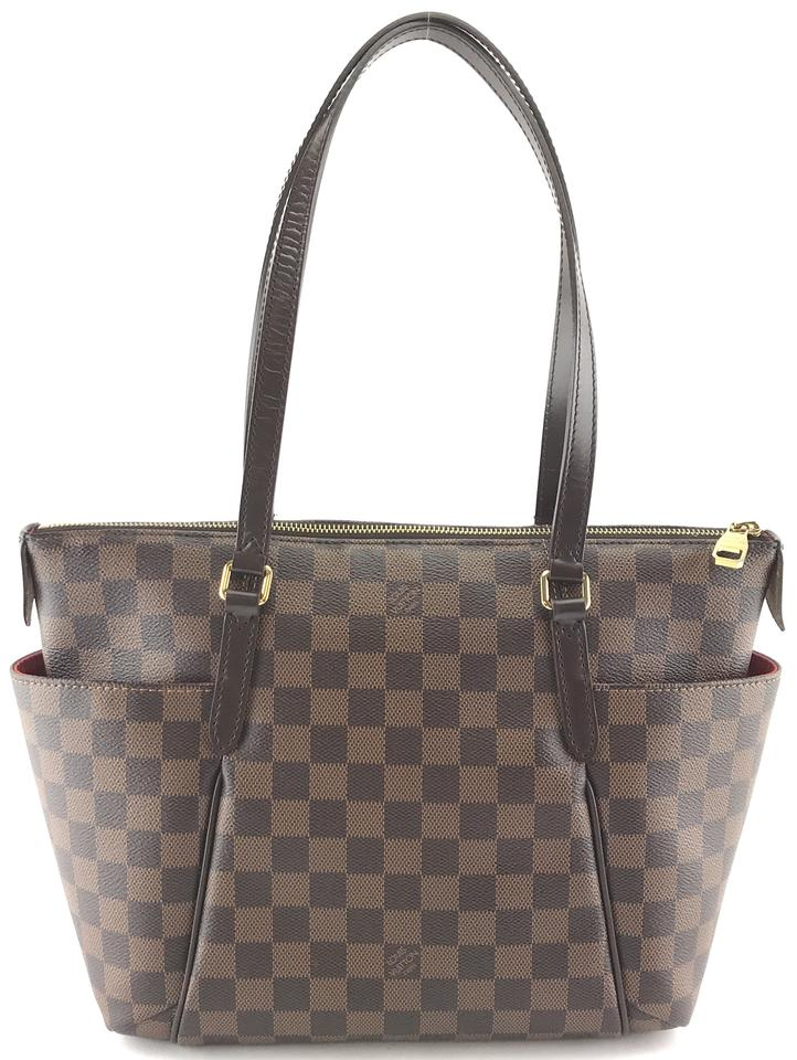 fbe05f1853 Louis Vuitton Totally #27480 Classic Pm Tote Zip Zipper Top Damier Ebene  Coated Canvas Shoulder Bag 13% off retail