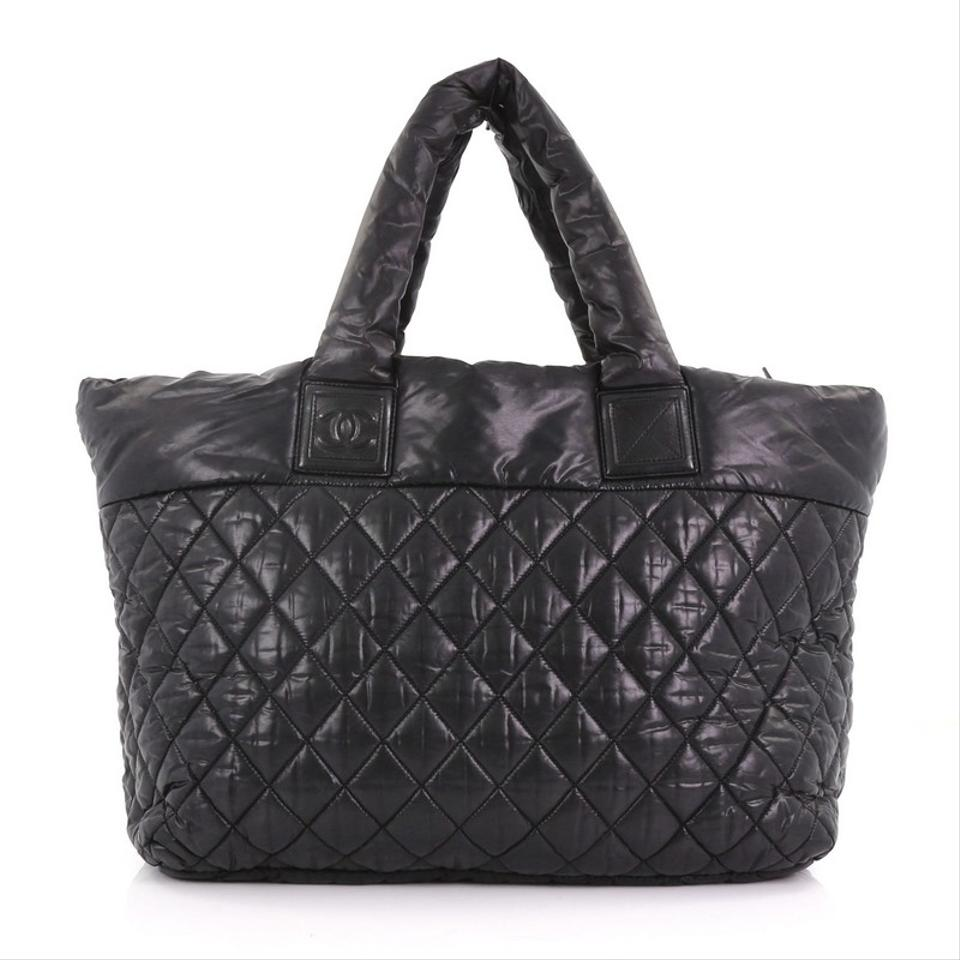 220aeb673abc Chanel Cocoon Coco Zipped Quilted Medium Black Nylon Tote - Tradesy