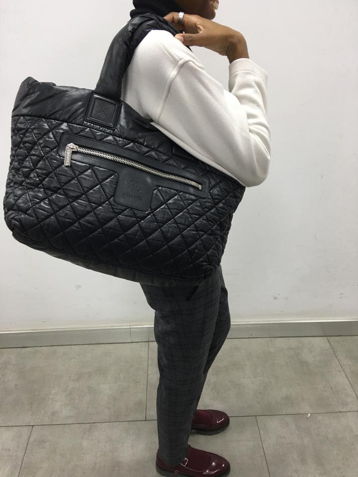 6eace14c16c96a Chanel Cocoon Coco Zipped Quilted Medium Black Nylon Tote - Tradesy