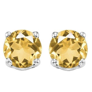 Eric Auctioneers 6MM Citrine Stud Earrings in Sterling Silver Citrine Jewelry