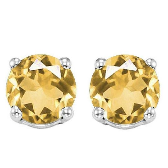 Eric Auctioneers 6MM Citrine Stud Earrings in Sterling Silver Citrine Jewelry Image 0