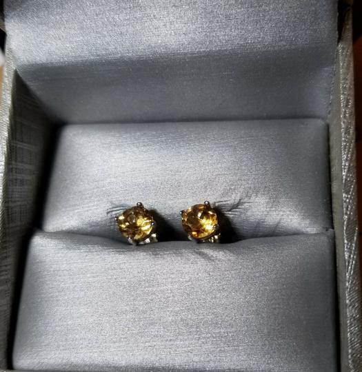 Eric Auctioneers 6MM Citrine Stud Earrings in Sterling Silver Citrine Jewelry Image 1