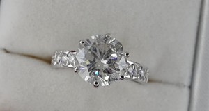 14k White Gold 3.36 Ct Tcw Diamond Solitaire Round Enhanced F/ Si2 Engagement Ring