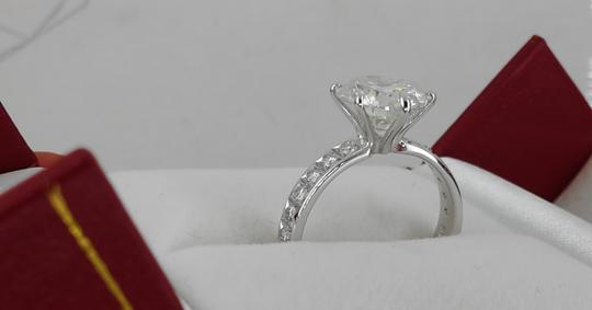 14k White Gold 3.36 Ct Tcw Diamond Solitaire Round Enhanced F/ Si2 Engagement Ring Image 1