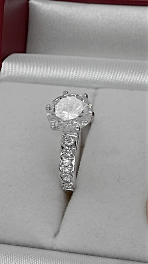 14k White Gold 3.36 Ct Tcw Diamond Solitaire Round Enhanced F/ Si2 Engagement Ring Image 3
