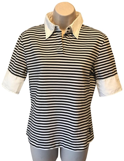 Preload https://img-static.tradesy.com/item/24851080/moncler-black-and-white-and-striped-cotton-polo-tee-shirt-size-4-s-0-1-650-650.jpg