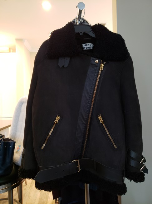Acne Studios Suede & Shearling Size 34 Brown Leather Jacket Image 1