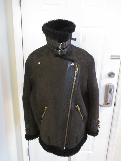 Acne Studios Suede & Shearling Size 34 Brown Leather Jacket Image 2