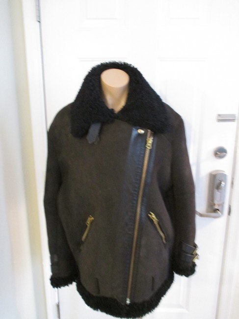 Acne Studios Suede & Shearling Size 34 Brown Leather Jacket Image 4