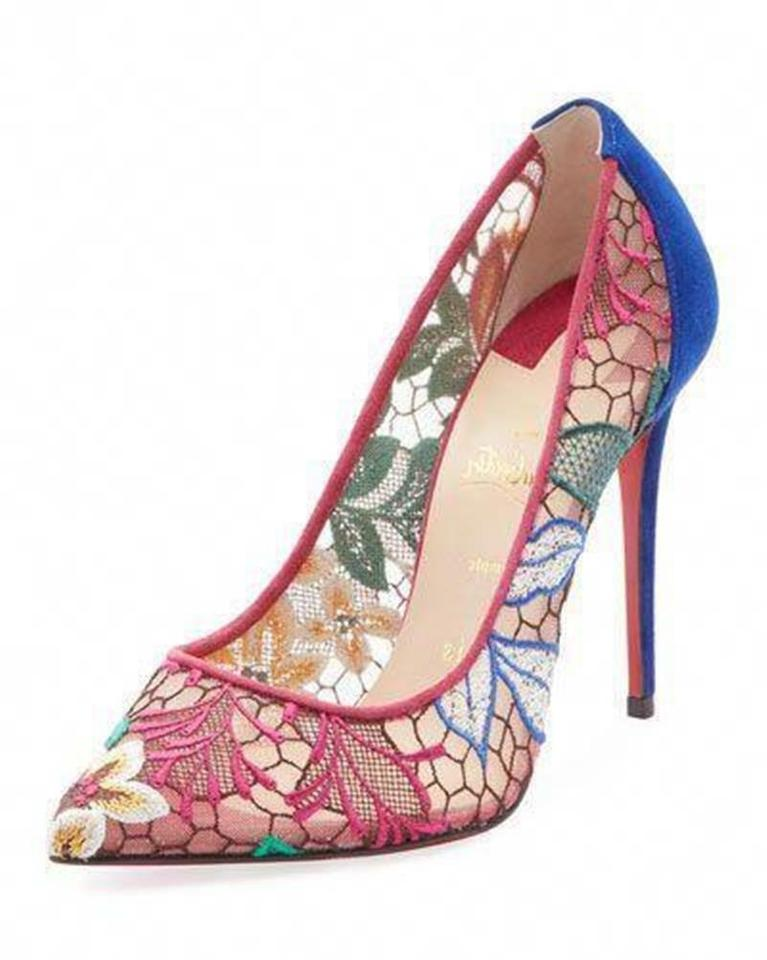 263b6a46603f Christian Louboutin Multicolor Follies Lace 100 Floral Rete Pumps ...