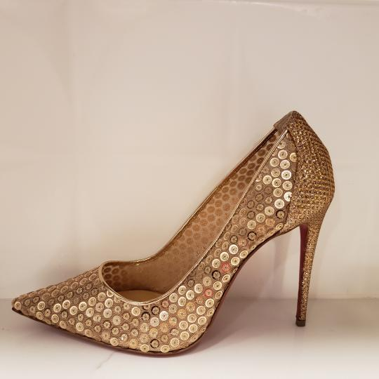 Christian Louboutin Lace Sequin 554 Sequined Glitter Nude Pumps Image 1