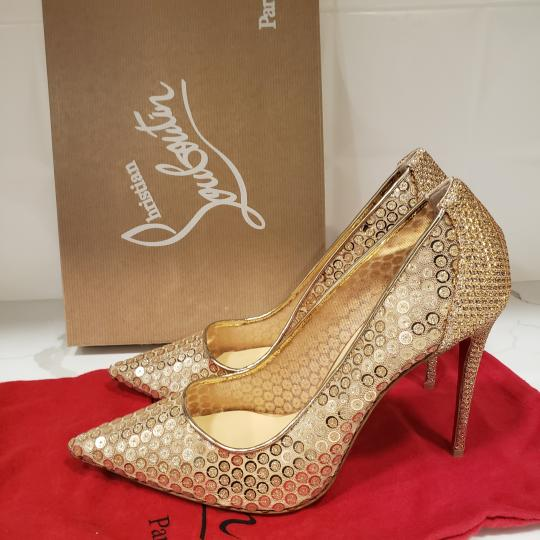 Christian Louboutin Lace Sequin 554 Sequined Glitter Nude Pumps Image 10