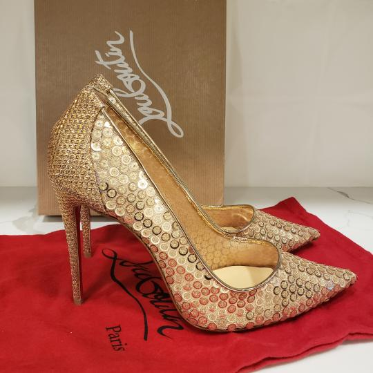 Christian Louboutin Lace Sequin 554 Sequined Glitter Nude Pumps Image 11