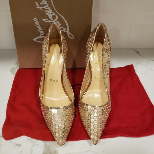 Christian Louboutin Lace Sequin 554 Sequined Glitter Nude Pumps Image 2