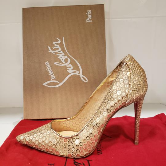 Christian Louboutin Lace Sequin 554 Sequined Glitter Nude Pumps Image 3