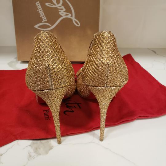 Christian Louboutin Lace Sequin 554 Sequined Glitter Nude Pumps Image 4