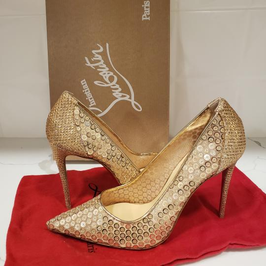 Christian Louboutin Lace Sequin 554 Sequined Glitter Nude Pumps Image 6