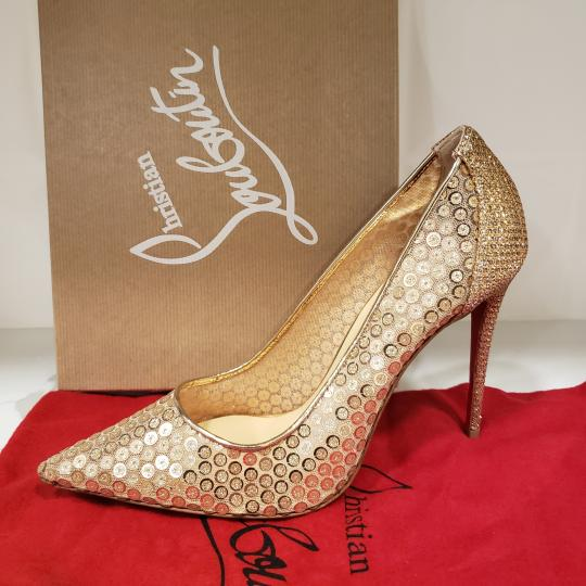 Christian Louboutin Lace Sequin 554 Sequined Glitter Nude Pumps Image 8