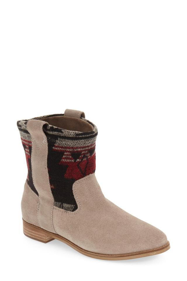 b000b4e49d1f TOMS Laurel Southwest Patterned In Desert Taupe Tribal Suede Boots/Booties
