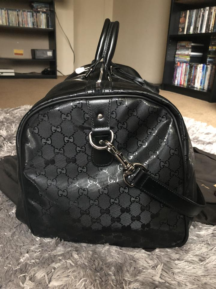885b07f83 Gucci Gg Imprime Duffle (63457) Coated Canvas Weekend/Travel Black Leather  Weekend/Travel Bag - Tradesy