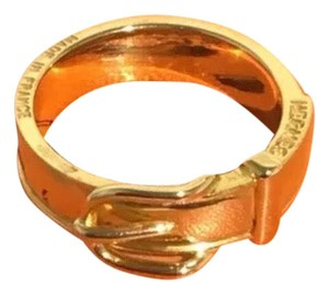 Hermès Gold Scarf-Ring with Buckle Design