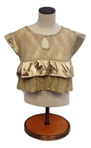 Millau Crop Lace Keyhole Ruffle Sheer Top Beige