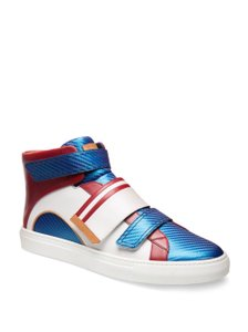 Bally Multicolor Herick White Red Blue Leather Hi Top Stripe Logo Sneakers 11 Us 44 Shoes