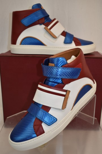 Bally Multicolor Herick White Red Blue Leather Hi Top Stripe Logo Sneakers 11 Us 44 Shoes Image 1
