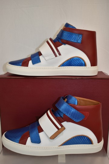 Bally Multicolor Herick White Red Blue Leather Hi Top Stripe Logo Sneakers 11 Us 44 Shoes Image 2