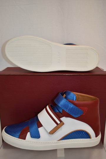 Bally Multicolor Herick White Red Blue Leather Hi Top Stripe Logo Sneakers 11 Us 44 Shoes Image 3