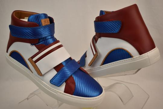 Bally Multicolor Herick White Red Blue Leather Hi Top Stripe Logo Sneakers 11 Us 44 Shoes Image 4