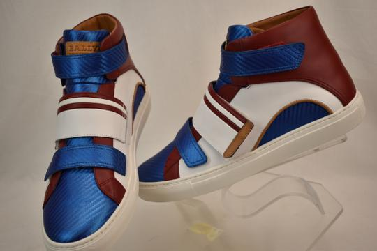 Bally Multicolor Herick White Red Blue Leather Hi Top Stripe Logo Sneakers 11 Us 44 Shoes Image 5