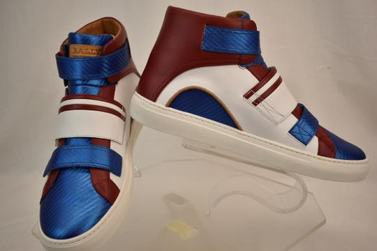 Bally Multicolor Herick White Red Blue Leather Hi Top Stripe Logo Sneakers 11 Us 44 Shoes Image 6