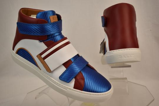 Bally Multicolor Herick White Red Blue Leather Hi Top Stripe Logo Sneakers 11 Us 44 Shoes Image 9