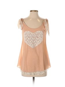 Anthropologie Lace Chiffon Heart Tank Blouse Top Pink
